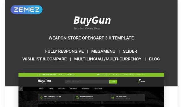 BuyGun – Weapons Store OpenCart Template