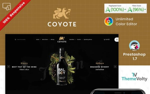 Covote Wine Alcohol Store PrestaShop Theme Template Monster 93250 Nulled Download