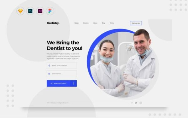 Daily Dentist Service Appointment Booking UI Elements Template Monster 109503Download