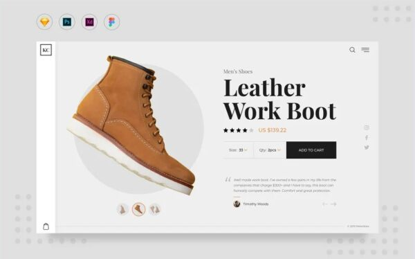 Daily V7 Shoes Product Page Website UI Elements