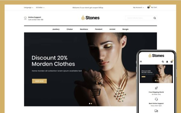 Stones - Jewelry Store PrestaShop Theme Template Monster 104272 Nulled Download