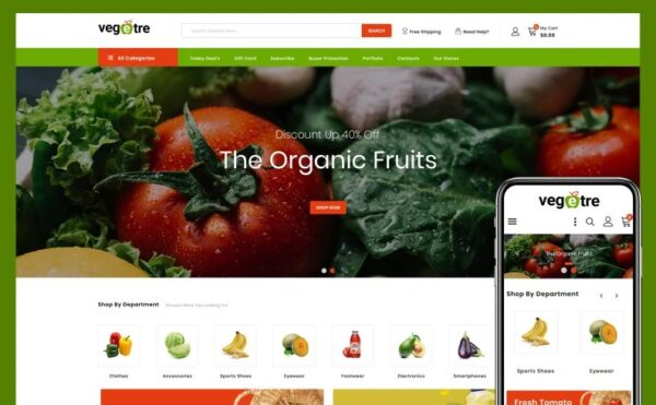 Vegetre - Grocery Store PrestaShop Theme Template Monster 103900 Nulled Download