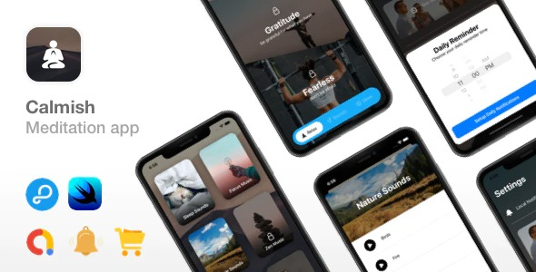 Calmish-Meditation&Relaxation-SwiftUI-app-iOS 14-ready-Nulled-Download
