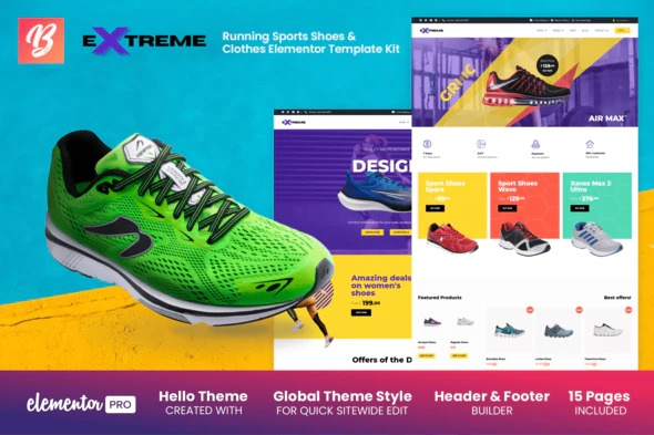 Extreme - Running Sports Shoes & Clothes Elementor Template Kit Nulled